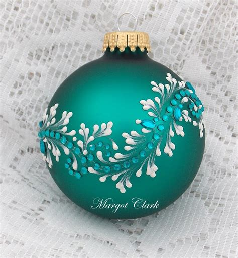 painted christmas balls blue green painted 3d mud floral texture design with