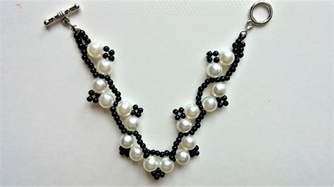 step by step beading diy white and black bracelet step by step beading