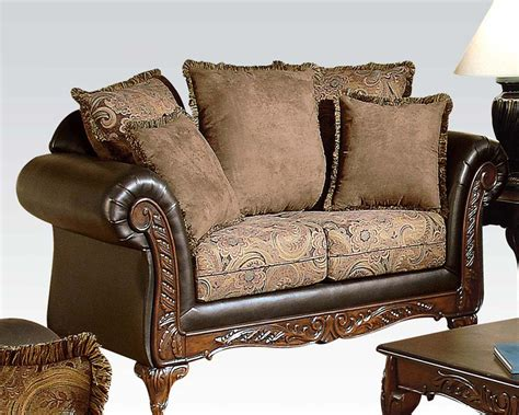 traditional sofas and loveseats traditional loveseat w 5 pillows fairfax by acme ac50336