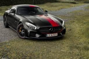 satin black mercedes amg gt s with stripes