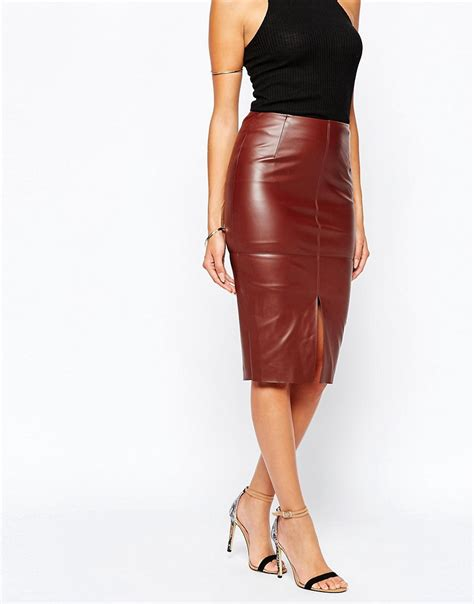 river island river island leather look pencil skirt at asos
