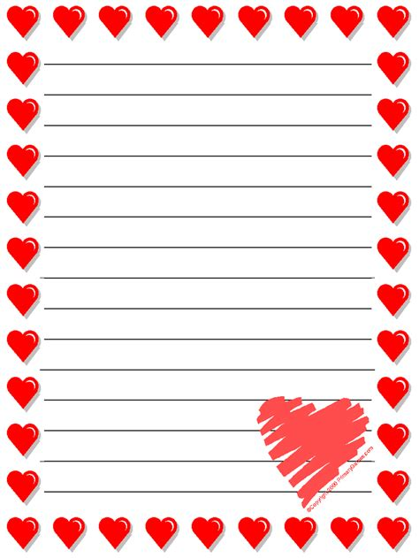 Printable Heart Stationery | stationery primarygames com free printable worksheets