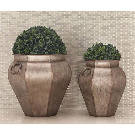 Urn Shaped Planters by 18 In X 18 In Rustic Iron Gray Urn Shaped Planters Set Of 2 20388 The Home Depot