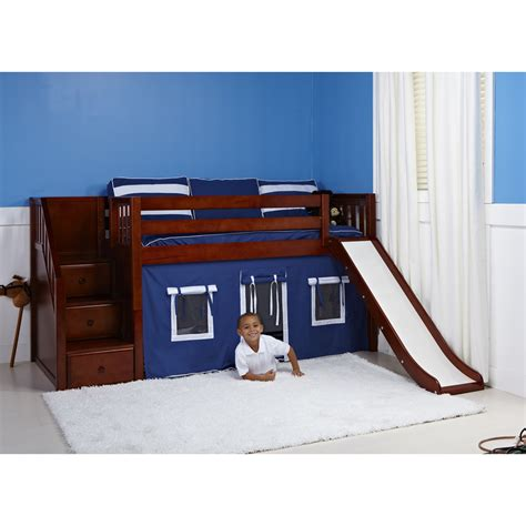 Toddler Bunk Bed With Slide Maxtrix Delicious Playhouse Low Loft In Chestnut W Stairs Slide Slat Bed Ends 325 1s