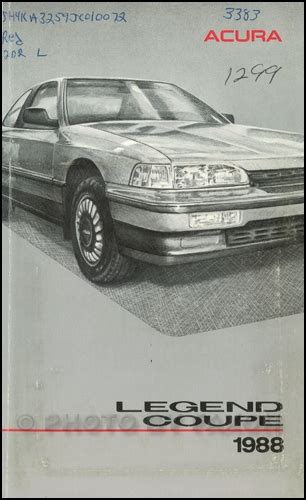 book repair manual 1988 acura legend auto manual 1988 acura legend coupe owners manual original