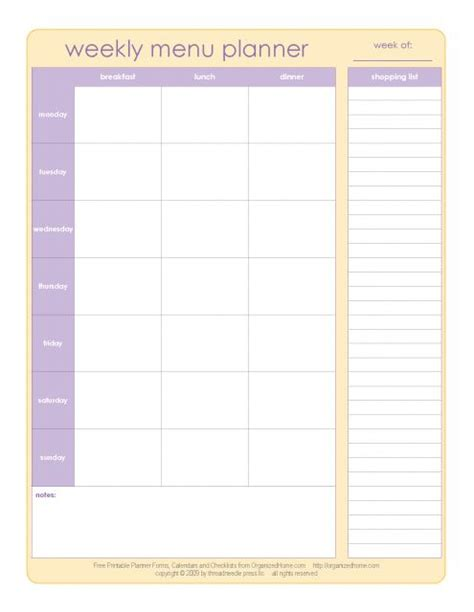weekly menu planner printable paper printables pinterest