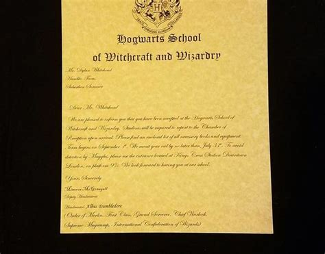 Hogwarts Acceptance Letter Printable Template