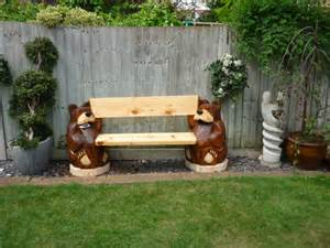 Solid Wood Outdoor Bench Bear Bench Carved From Solid Timber Wood Actually