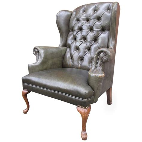 queen anne leather recliner queen anne tufted leather wingback chair at 1stdibs