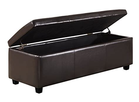 bench avalon mall simpli home avalon rectangular faux leather storage