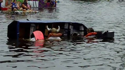 viking cardboard boat race viking ship tips over at quot cardboard boat race quot in