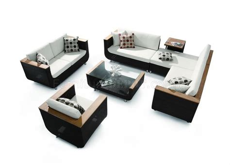 Modern Set by Modern Black White 4pc Patio Sofa Set W Wooden Accents