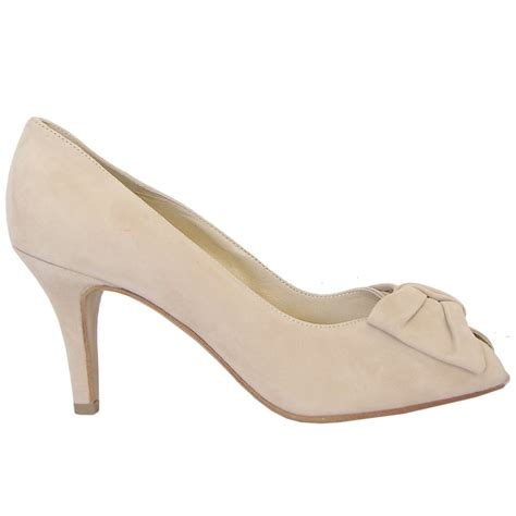 beige shoes kaiser samos peep toe court shoes in beige suede