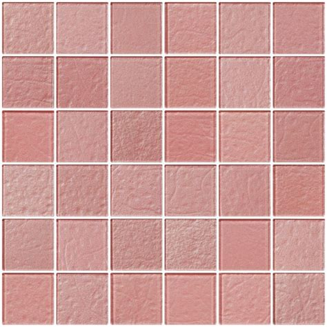 Glass Tile   2x2 Inch Pale Pink Rose Metallic Glass Tile