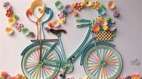 Flower Stickers For Wall how to make quilling bicycle with flowers simple craft ideas