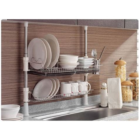 kitchen drying rack for sink details about stainless fixing pole 2 tiers dish drying rack drainer dryer tray cup storage