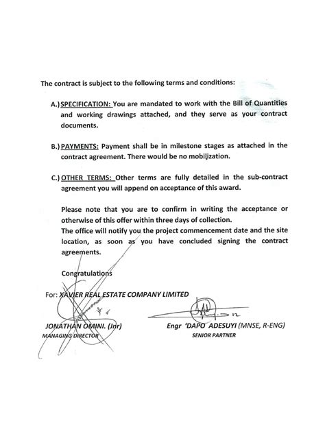 Contract Letter Of Award 4 Bedroom Bongalow Construction Contracts For Sub Lets Properties Nigeria