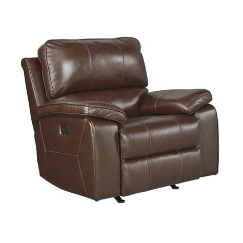 ashley leather recliners ashley transister leather power rocker recliner in coffee