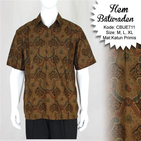 Kemeja Batik Baturaden M kemeja pendek batik baturaden motif ceplok lasem kemeja