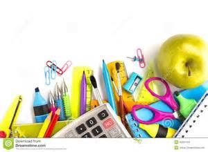 supplies on white background stock photo image