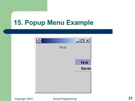 swing popup menu windows programming with swing