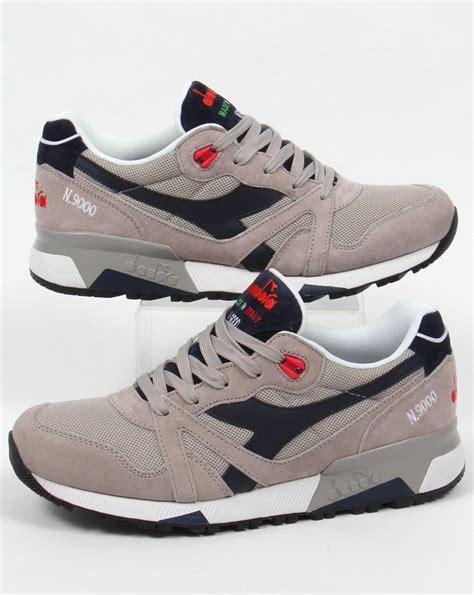 diadora shoes diadora n9000 italia trainers blue grey shoes runners mens