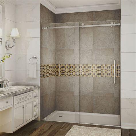 Clear Glass Frameless Sliding Shower Door Aston Moselle 60 In X 75 In Completely Frameless Sliding Shower Door In Stainless Steel With