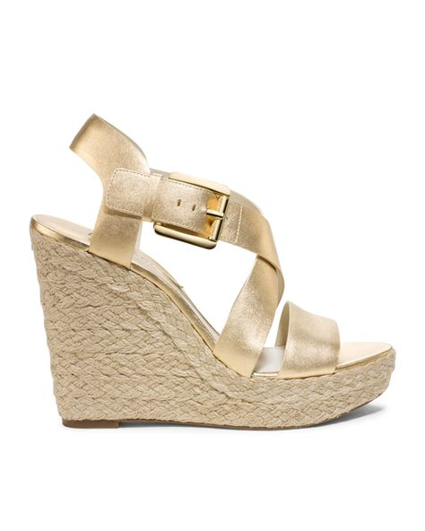 Wedges Gloss Gold lyst michael kors michael giovanna leather espadrille
