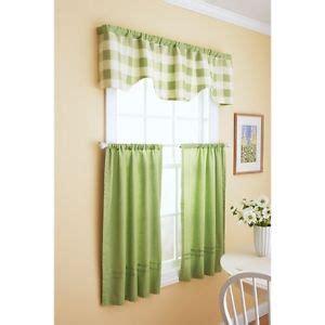 better homes and gardens kitchen curtains new better homes and gardens reversible checks solids kitchen curtain set green ebay