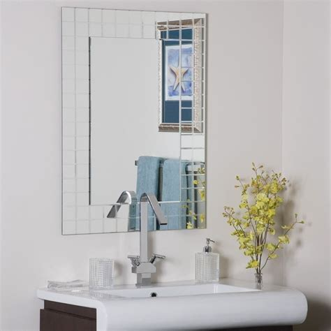 Beveled Mirrors For Bathroom Frameless Wall Mirror Vgroove Beveled Bathroom Ebay