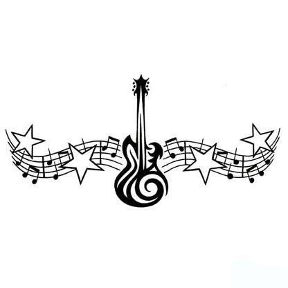 tribal music note tattoo guitar designs theme design tribal