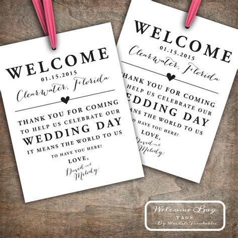 Thank You Letter Destination Wedding Custom Printable Wedding Welcome Bag Tags Labels Hotel Welcome Bags Destination Welcome Bags