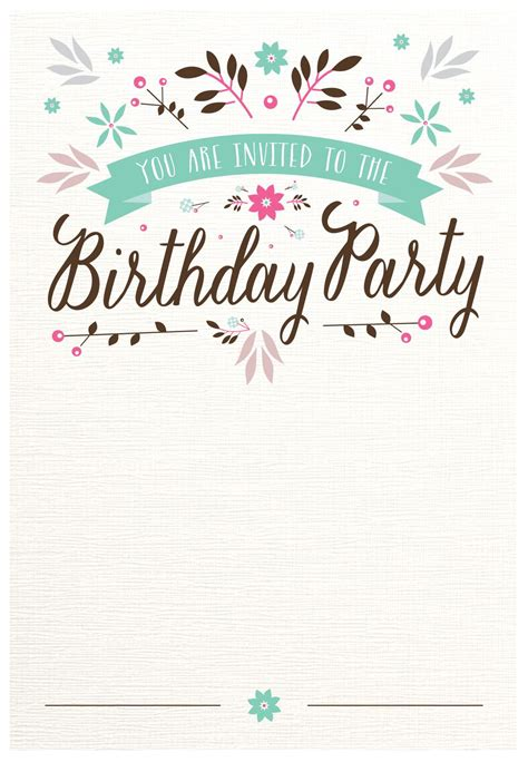 invatation card template free printable flat floral free printable birthday invitation template
