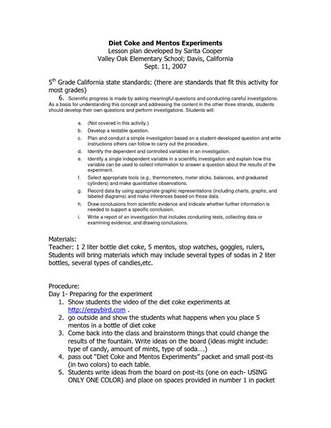 Mentos Experiment Worksheet by 12 Best Images Of Mentos Diet Coke Lab Worksheet Diet