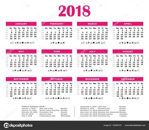 Angola Calendario 2018 2018 Rosa Calend 225 Anual Feriados Federais A Lua E Os