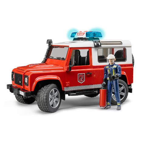 land rover bruder land rover defender station avec pompier bruder king