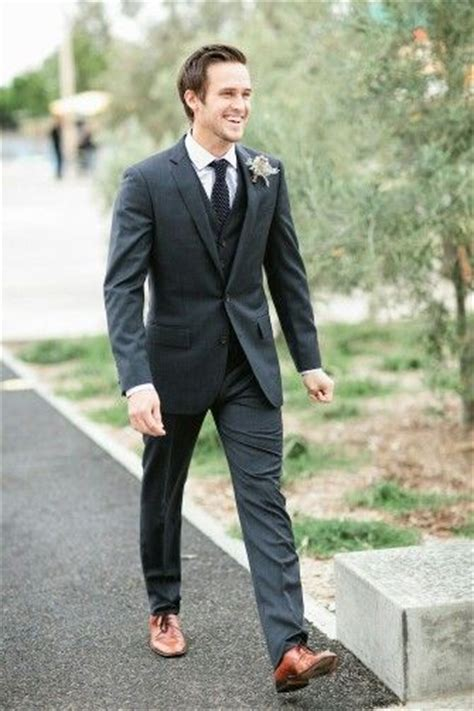 brown shoes black suit groom style shoes