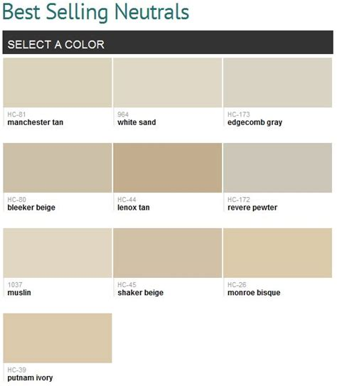 best selling neutrals benjamin color palets for various rooms in house