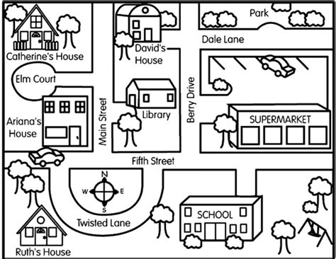 community map coloring page learn how to make maps social studies free and geography