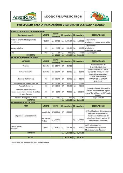 forma de presupuesto formato de presupuesto carbon materialwitness co