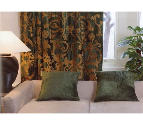 curtains richmond richmond green velvet appliqued curtain