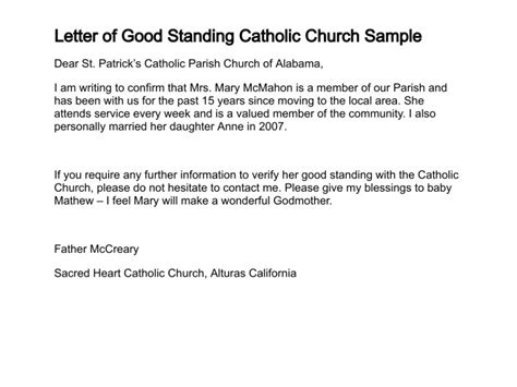 Reference Letter Standing sle letter of standing catholic church choice