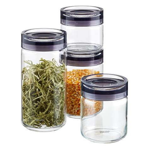 glass kitchen storage canisters grigio glass canisters by guzzini the container store