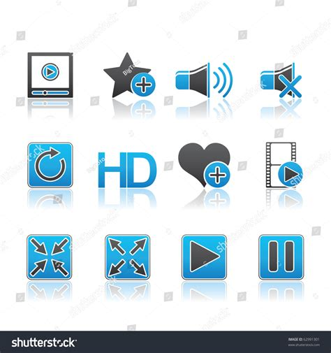 eps format edit media player icon set 15 blue series vector eps 8