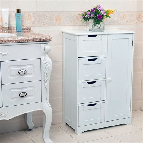 White Wooden Bathroom Storage White Wooden 4 Drawer Bathroom Storage Cupboard Cabinet Free Standing Unit Bath Ebay