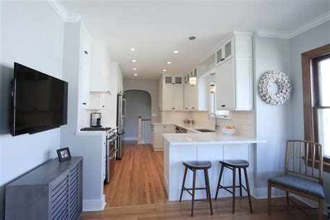 Kitchen With Island And Peninsula cheerful park hill bungalow kitchen to start the day