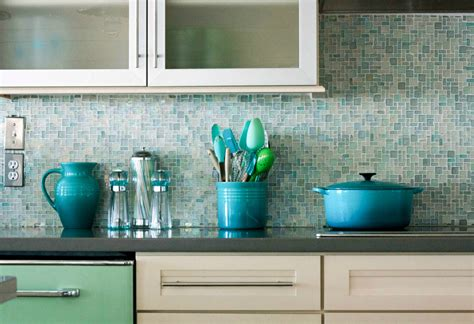 blue glass backsplash tile kitchen traditional with blue