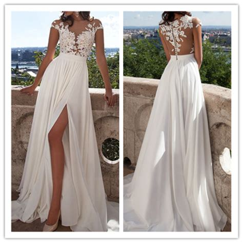Kitsch Home Decor a line lace beach wedding dresses front slit see through