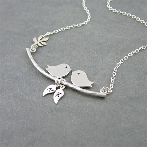 birds on a branch necklace two initials sterling silver bird necklace bird family