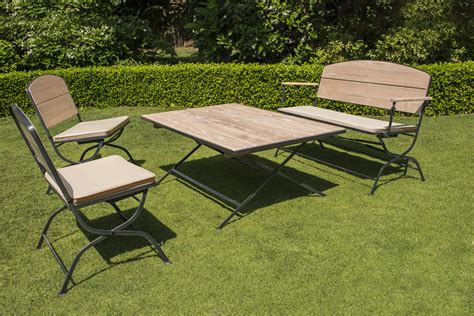 mobilier de jardin pliant la maison du jardin salon de jardin pliant en bois et acier galvanis 233 avec table haute 2